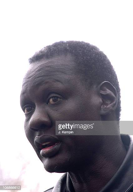 Manute Bol during ExNBA Player Manute Bol and Former Sudanese Slave Simon Deng Hold Press Conference Calling for US to Stop Violence and Slavery in...