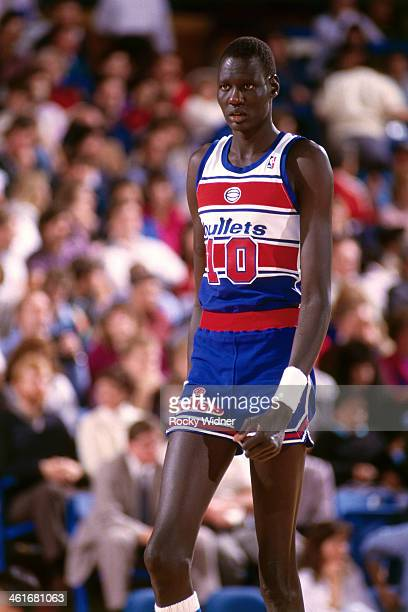 Manute Bol of the Washington Bullets walks during a game played on February 14 1987 at Arco Arena in Sacramento California NOTE TO USER User...