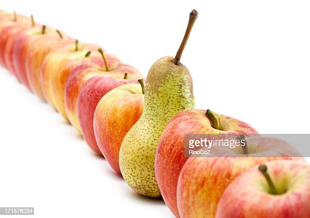 Many Apples In A Row And One Pear