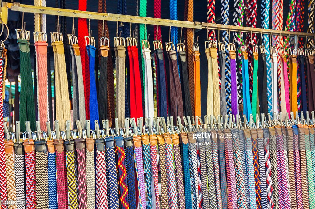many belts of all types and colors : Stockfoto