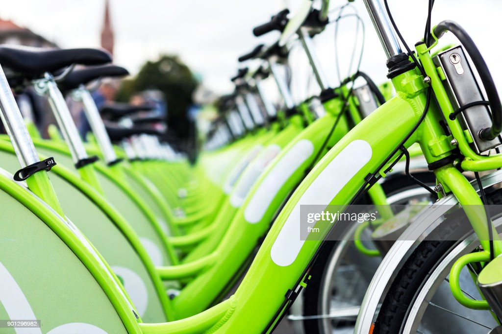 Many bicycles, waiting for rental (Berlin, Germany) : Stock Photo