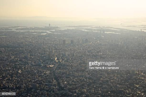 many building in center of osaka city in osaka prefecture daytime aerial view from airplane - 大阪市 ストックフォトと画像