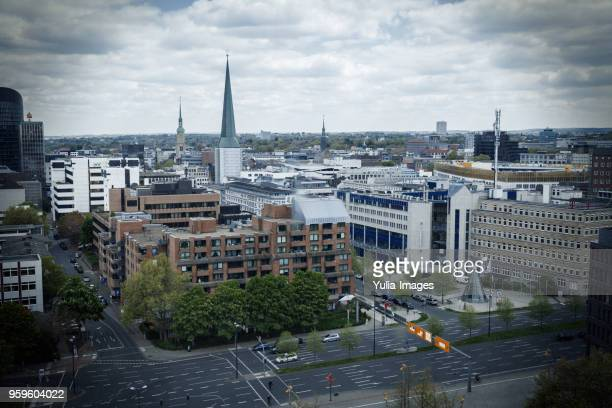 many buildings and wide streets next to each other - dortmund city stock pictures, royalty-free photos & images