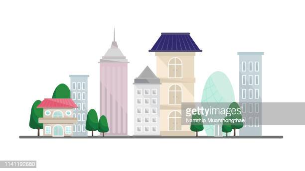 many buildings in the city illustration with the white background. - town stock pictures, royalty-free photos & images