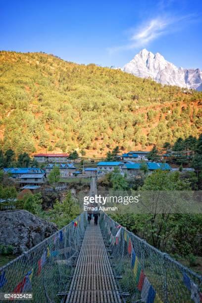 Many cable bridges along the trail to Everest Base Camp, Everest Region, Nepal