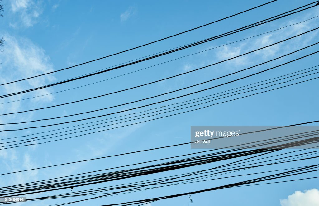 Many Cable Wire On Blue Sky Stock Photo | Getty Images