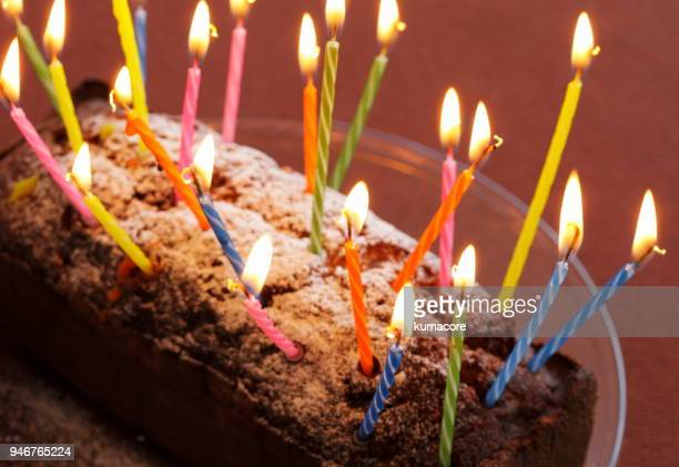 Many candles with cake