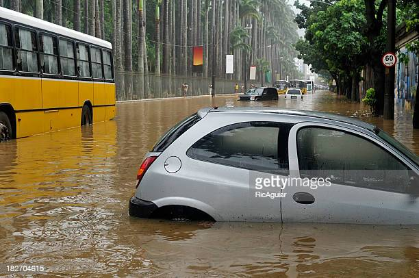 Many cars trapped on a flooded street