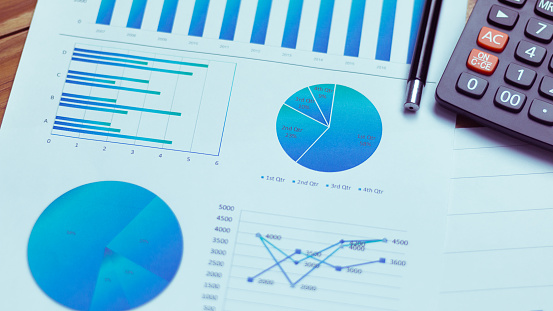 Many charts and graphs reflect the company's concept of data collection and statistical performance in the past year. 1010172410