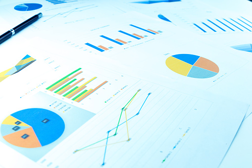 Many charts and graphs reflect the company's concept of data collection and statistical performance in the past year. 1064228088