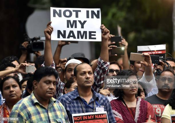 Many citizens and celebrities join hands and protest in support of the campaign 'Not in My Name' against lynching of a Muslim teenager Junaid at...