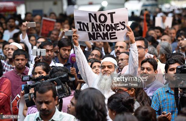 Many citizens and celebrities join hands and protest in support of the campaign 'Not in My Name' against lynching of a Muslim at Jantar Mantar on...