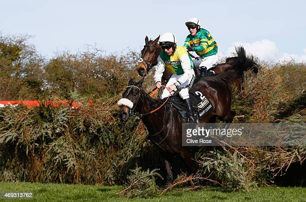 Many Clouds ridden by Leighton Aspell on his way to winning the 2015 Crabbie's Grand National at Aintree Racecourse on April 11 2015 in Liverpool...
