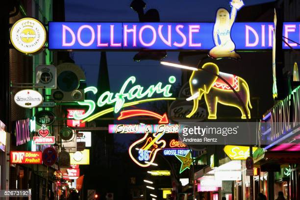 Many clubs and dance bars are see at 'Grosse Freiheit' April 20 2005 near the Reeperbahn in St Pauli's Red Light district in Hamburg Germany...