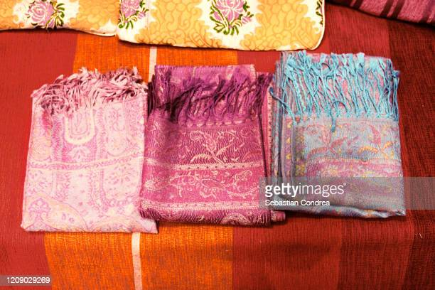 many colored scarves, street market at medina, fez, morocco, africa - cashmere stock pictures, royalty-free photos & images