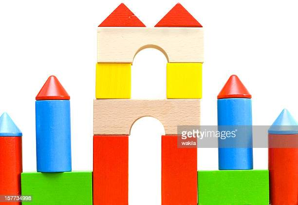 many colorful blocks made of wood