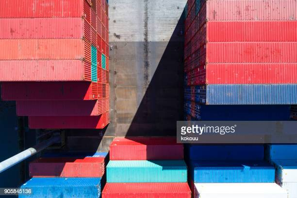 many containers. - cargo airplane stock photos and pictures