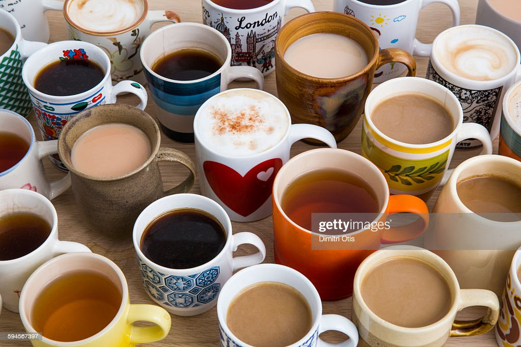 Many cups of tea, coffee and hot chocolate : Stock Photo