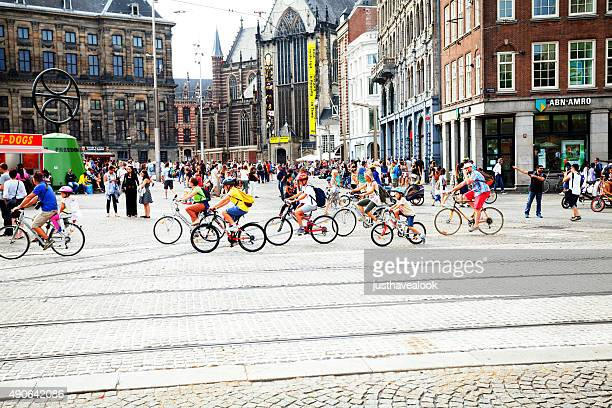 Many cycling kids in Amsterdam