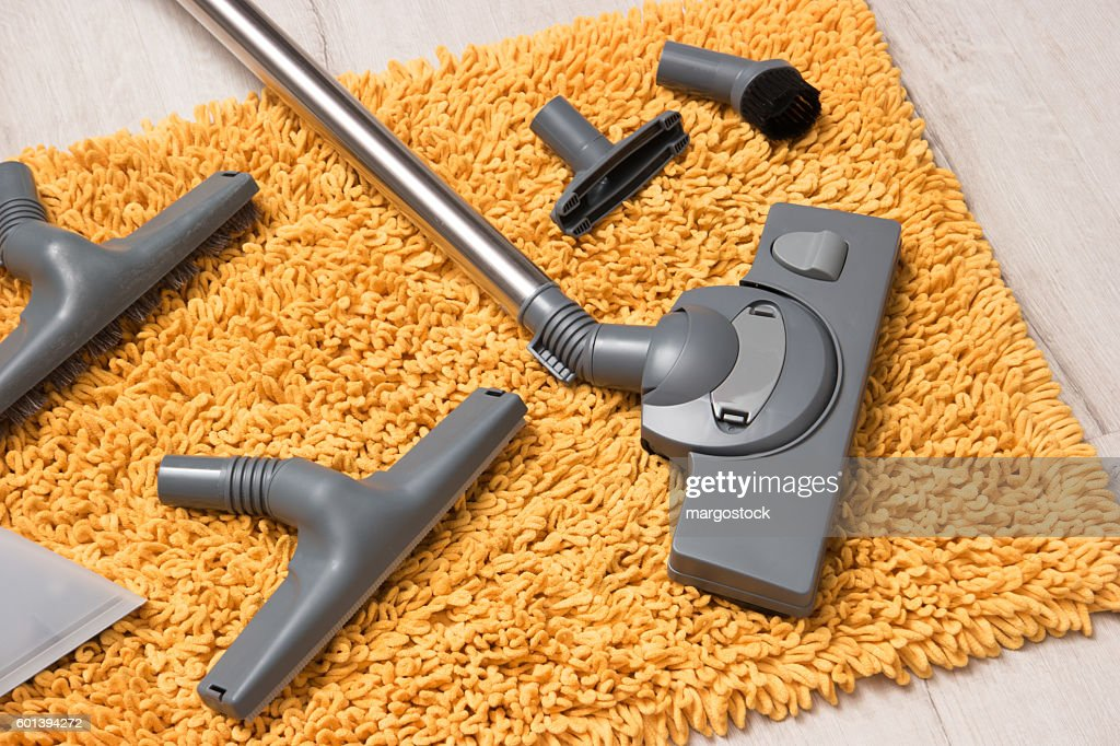 Many different nozzles for a vacuum cleaner. : Stock Photo
