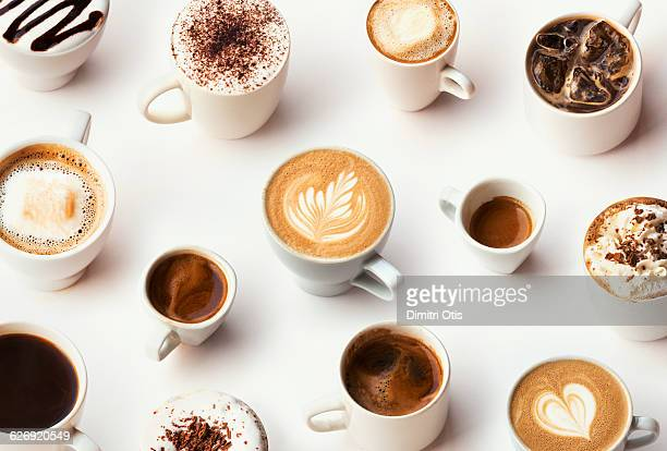 many different types of gourmet coffee, selection - caffè bevanda foto e immagini stock