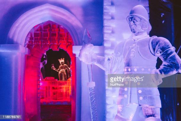 Many famous fairy tales are transformed into different theme displayed at opening of Zwolle Ice Sculpture festival in Zwolle, Netherlands on 14...