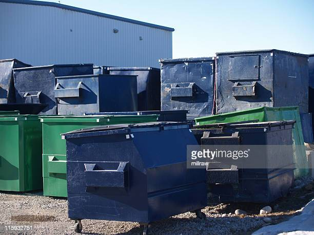 Many Garbage Dumpsters