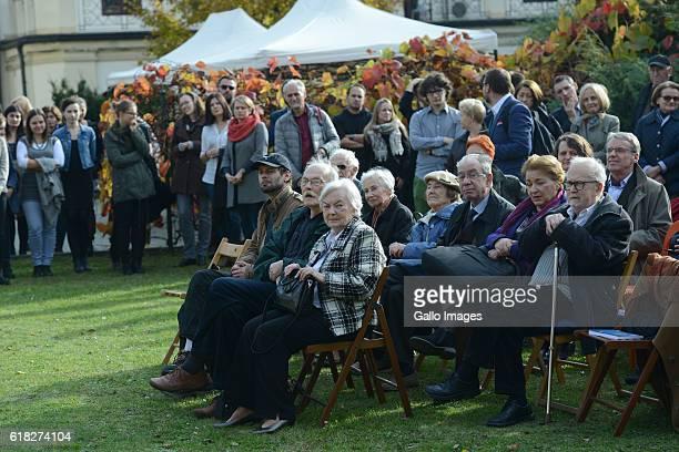 Many guests attend the ceremony of planting Wislawa Szymborskaâs acacia on October 24 2016 near Dworek Lowczego in Krakow Poland Szymborska the...