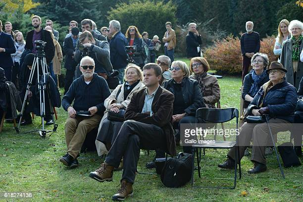 Many guests attend the ceremony of planting Wislawa Szymborskaâs acacia on October 24 2016 near Dworek Lowczego in Krakow Poland Szymborska the...