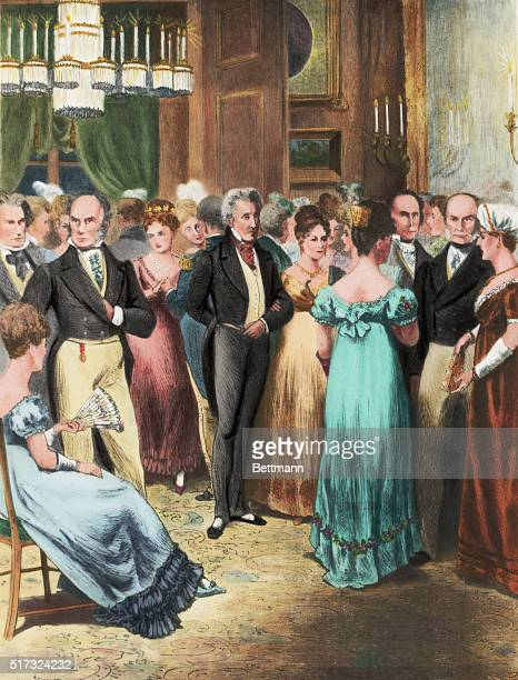 Many guests stand together at a ball given by Louisa Adams wife of President John Quincy Adams on January 8 1824 Andrew Jackson stands to the right...