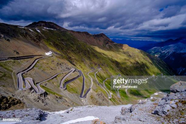 Many hairpin bends are leading up to the Stelvio Pass Passo dello Stelvio on 2757 meters above sea level