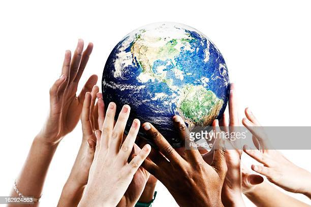 many hands reach up for planet earth - reaching stock pictures, royalty-free photos & images
