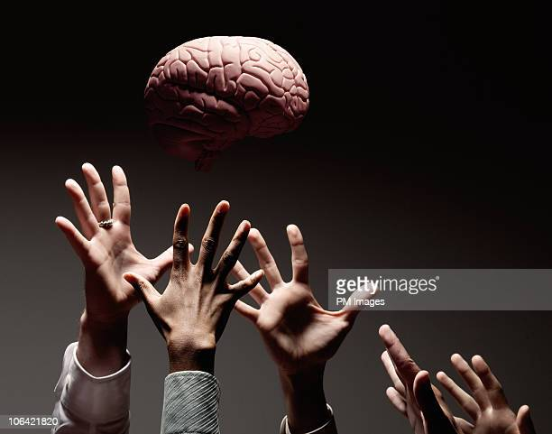Many hands reaching for brain