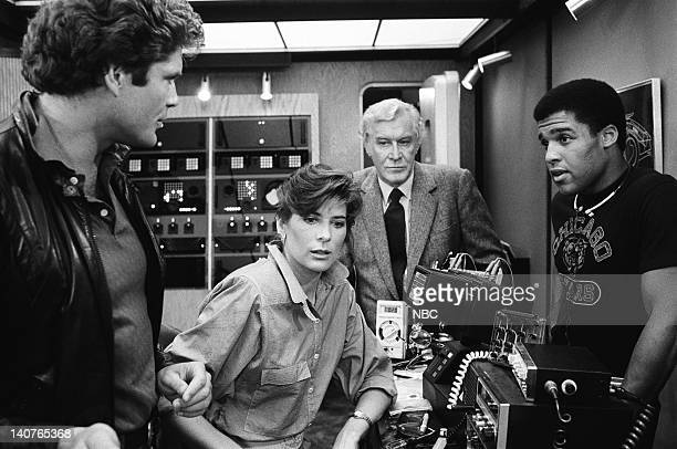 RIDER Many Happy Returns Episode 8 Pictured David Hasselhoff as Michael Knight Patricia McPherson as Bonnie Barstow Edward Mulhare as Devon Miles...