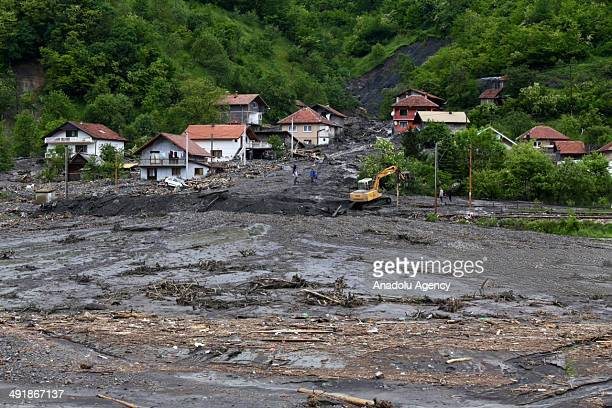 Many houses and agricultural lands are affected negatively due to the heavy rainfall in Sarajevo Bosnia and Herzegovina on May 17 2014
