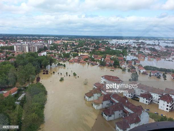 Many houses and agricultural lands are affected negatively due to the heavy rainfall in Obrenovac Serbia on May 18 2014 At least 35 people drowned...