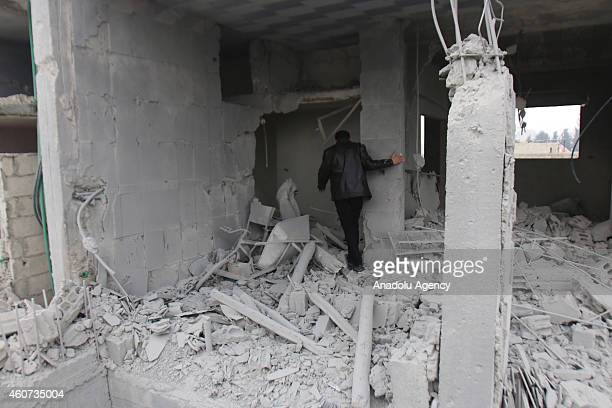 Many houses and work places are damaged or destroyed by missile attacks of Asad regime forces in east Ghouta district of Damascus Syria on December...