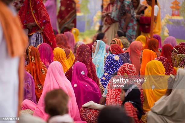 many indian women in beautiful, colorful saris, pushkar, india - sari stock pictures, royalty-free photos & images