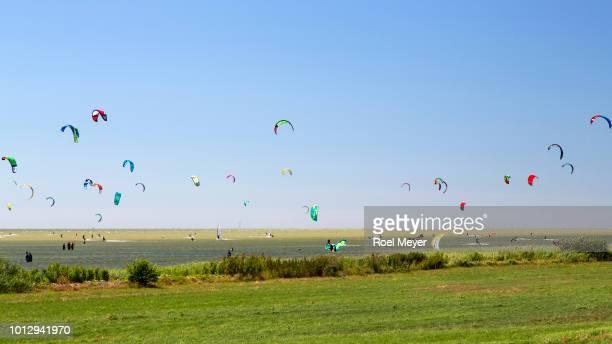 Many kite surfers on Dutch Lake IJssel