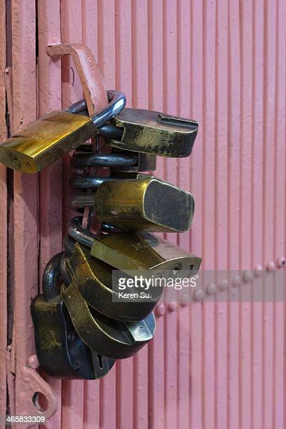 Many locks on a door