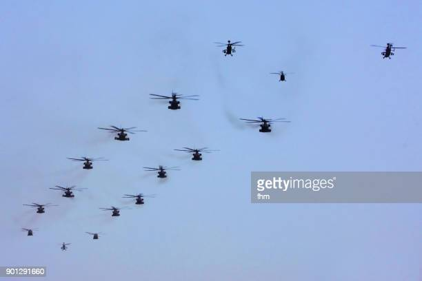Many military helicopters in the sky (Brandenburg, Germany)