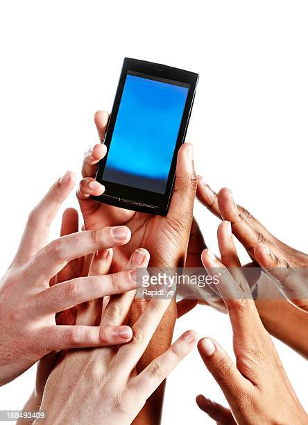 Many mixed hands grab for cell phone held high