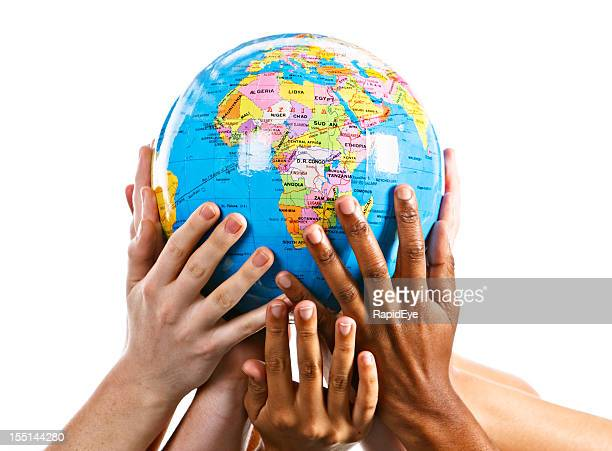 Many mixed hands support Mother Earth with Africa topmost