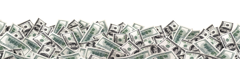 many much money on white background. wide image 963534180