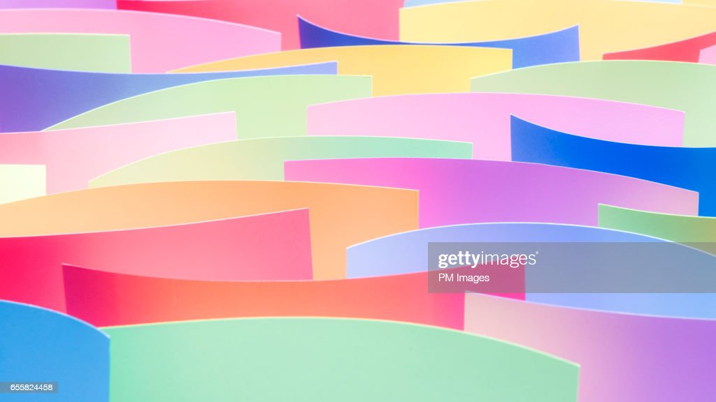 Many multi colored sheets of paper close up : ストックフォト