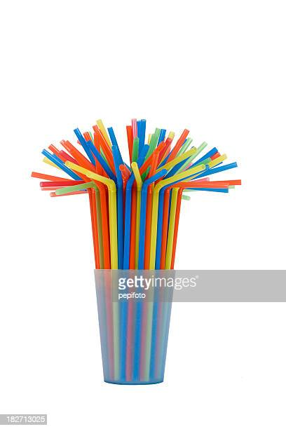 many multicolored tubules in blue glass - drinking straw stock pictures, royalty-free photos & images
