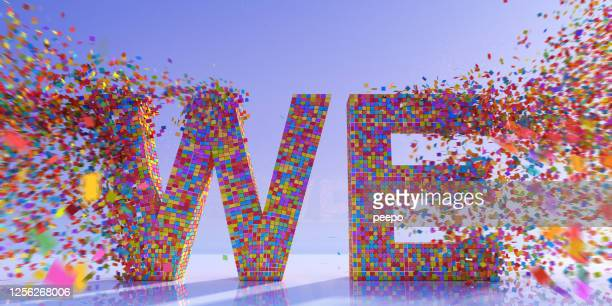 """many multi-coloured square particles coming together to make word """"we"""" - participant stock pictures, royalty-free photos & images"""