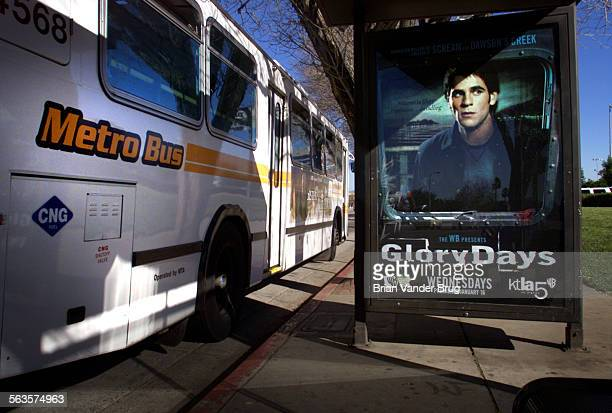 Many of LA's bus stops like this one on Victory Blvd in Woodland Hills on January 11 2002 are emblazoned with big ads while information helpful to...
