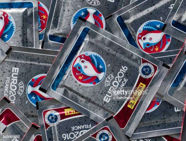 many packages with panini trading cards for the uefa euro 2016 football championship - uefa stock pictures, royalty-free photos & images