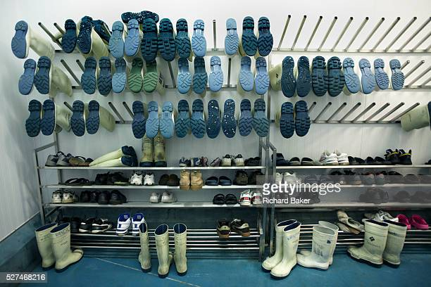 Many pairs of antislip Acifort Wellington boots are awaiting users at the New England seafood suppliers in Chessington London England Made by British...